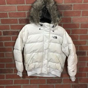 The North Face White Hooded Puffer Jacket Medium